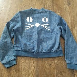 Pepaloves ModCloth jean cat face bomber jacket